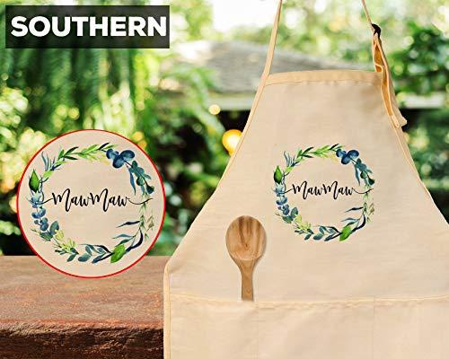 Ad4ssdu4 MawMaw Schort Zuidelijke Grootmoeder Keuken Geschenk Maw Maw Verjaardagscadeau met Bloemen Ontwerp Beige Katoen