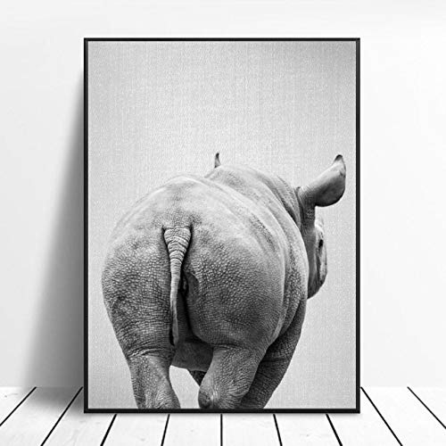 zhuifengshaonian Black & White Rhino Tail Canvas Painting Art Print Poster Picture Wall Modern Minimalist Bedroom Living Room Decoration (ZW-286) No frame poster 40x60cm