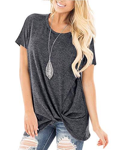 Yidarton Damen T-Shirt Sommer Rundhals Tunika Lose Oberteil Asymmetrisch Bluse Tops (Grau, L)