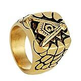 Bishilin Edelstahl Herren Ringe Edelstahlring Freimaurerei G Masonic Männer Ring Partnerring Gold Große 62 (19.7)