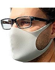 STELLENBERG Design 3-pack maskers van licht schuim direct leverbaar uit Duitsland herbruikbaar wasbaar brildragers ademend unisex dagelijks masker mode grijs