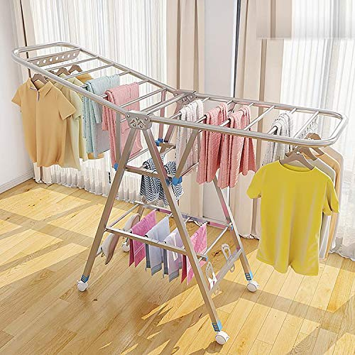 Clothes Drying Rack Foldable with HeightAdjustable Gullwings and Casters 3Level Stable Indoor/Outdoor Stainless Steel FreeStanding