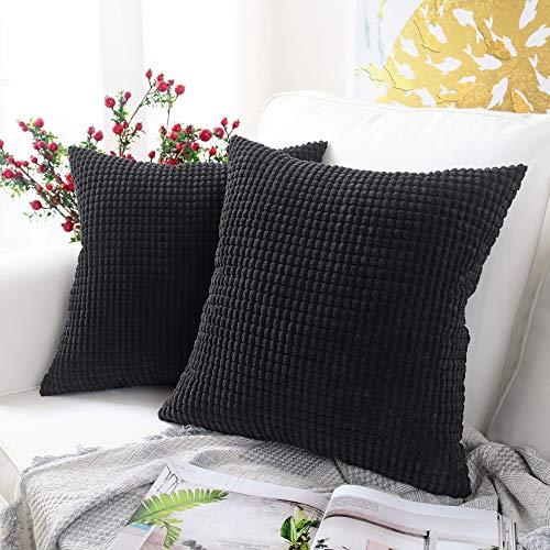 QUANHAO Funda de Almohada de mazorca de maíz, Funda de Almohada, Funda de cojín de Pana, cojín Decorativo Cuadrado para sofá y Funda de Almohada para Coche, Paquete de 2(Negro, 45x45cm)