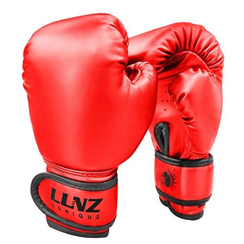 Luniquz Gants de Boxe Enfant 3-14 Ans, Gants d'd'Entraînement Métallique 4OZ 6OZ pour MMA Muay Thai