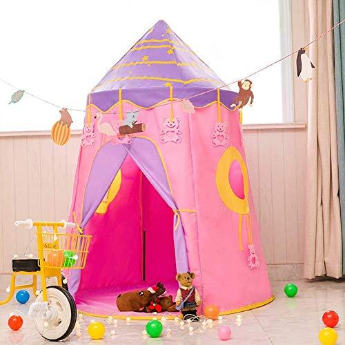 Castillo Cielo Estrellado Tienda Plegable Castillo Princesa para Niños Niñas Fácil de Montar y Guardar Sistema Pop-up Juguete Infantil Castillos de Juguete Tiendas de Campaña Juego de Juguetes