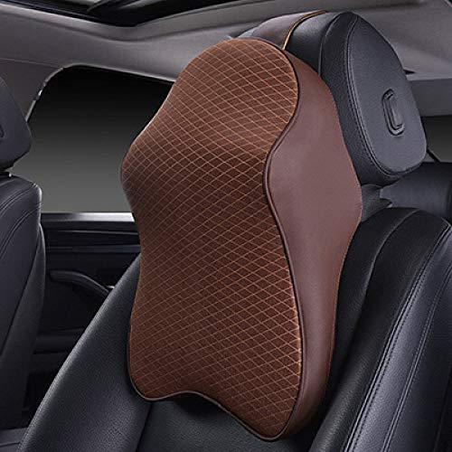 TZYKCN Vervangende autohoofdsteunkussen, Ice Silk Auto neksteun lendensteun autostoelbekleding accessoires mat.-nr. koffie