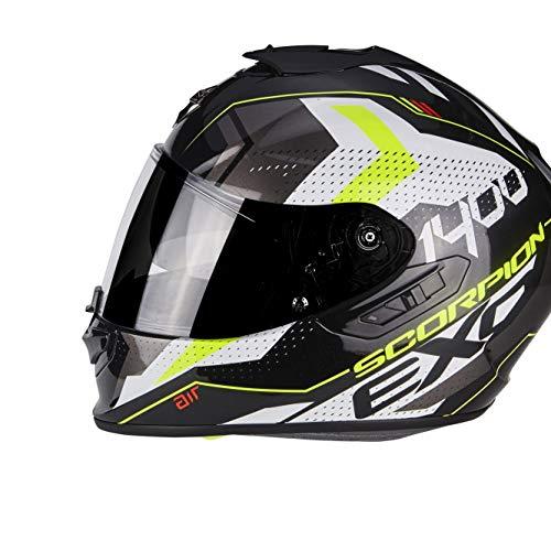 Scorpion Motorradhelm Exo 1400 Air Trika, Schwarz/Weiß/Gelb, Größe M