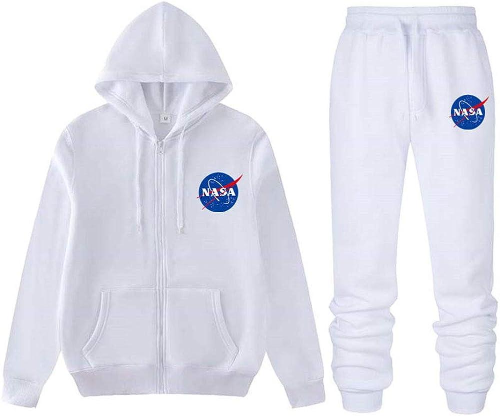 ATHIHOOD Unisex Tuta Sportive con NASA Stampa Giacca con Cappuccio e Pantalone Lungo Tuta da Ginnastica Uomo Inverno