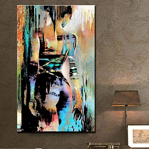 modern nude painting colorful naked woman print oil painting on canvas back of girl fashion home decoration picture/50x75cm-No Frame