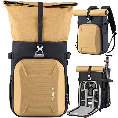 TARION XH Camera Backpack Waterproof Camera Bag Hard Shell Roll Top Expandable Large Camera Backpack 18.5L | 15' Laptop Compartment with Waterproof Rain Cover for Women Men Photographer Lens Tripod