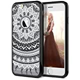 iPhone 6 Case, iPhone 6S Case, SmartLegend Retro Totem Mandala Floral Pattern Clear Acrylic PC Hard Back Cover with TPU Bumper Hybrid Transparent Protective Case for iPhone 6/6S 4.7' - Black