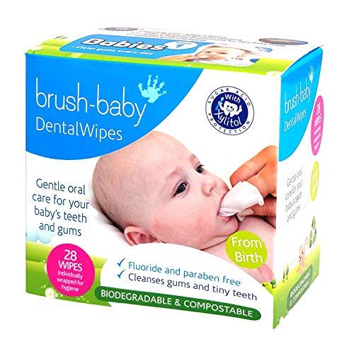 Toallitas dentales Brush-Baby para bebés | Nacimiento - Primeros dientes | 0-16 meses | Toallitas para limpiar suavemente la boca, encías y lengua del bebé | Pack de 28 toallitas individuales