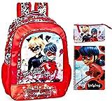 Ladybug & Cat Noir - Mochila, estuche y bloc de escritura, para niña, color rojo