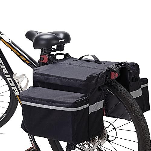 JINYOMFLY Alforjas Bicicleta Impermeable,Bolsa de Transporte Trasera Reflectante Impermeable alforja para Bicicletas,para Ciclismo,Viajes, Diario,Camping (Negro)