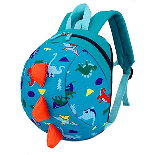 Toddler Kids Backpack Rucksack with Reins for Boys/Girl, Dinosaur Rucksack Toddler, Cartoon Safety Anti-Lost Strap Rucksack Kids Bag 27 * 19 * 11cm / 10.62 * 7.28 * 4.33inch (Sky Blue) (Sky Blue)