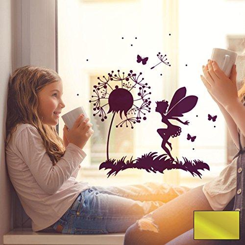 Fensterbild Wandtattoo Pusteblume Fee Schmetterlinge & Punkte Fensteraufkleber Fenstersticker M2093 - ausgewählte Farbe: *Gold* ausgewählte Größe: *XXXL - 100cm breit x 100cm hoch*
