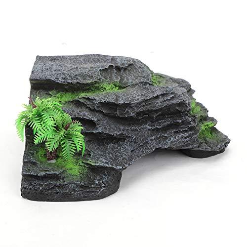 Acuario tortuga escalada pecera decoración de paisaje resina 1 piezas con dos ventosas grandes 6.30x6.30 pulgadas para decoración de pecera