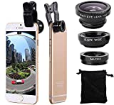3 in 1 Cell Phone Camera Lens Kit Wide Angle Macro Fisheye Lens Universal for Smart Phones iPhone Samsung Android