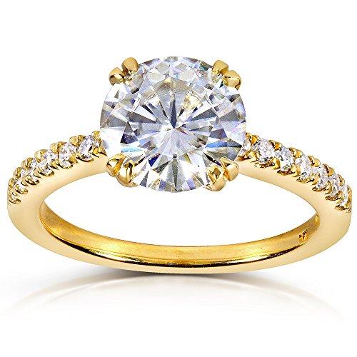 round-cut moissanite & Diamond anello di fidanzamento 21/10carati (Ctw) in oro giallo 14K, oro giallo, 17,5, cod. MZ61962R-2E_8.5_YG