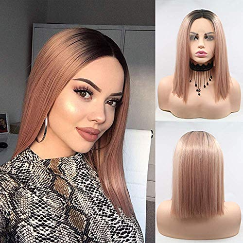 Karissa Blonde Short Bob Lace Front Wigs for Women Preplucked Ash Pink Short Straight Lace Wig with Middle Part Glueless Heat Resistant Pink Hairstyle Wig for Cosplay Party Use 14inch