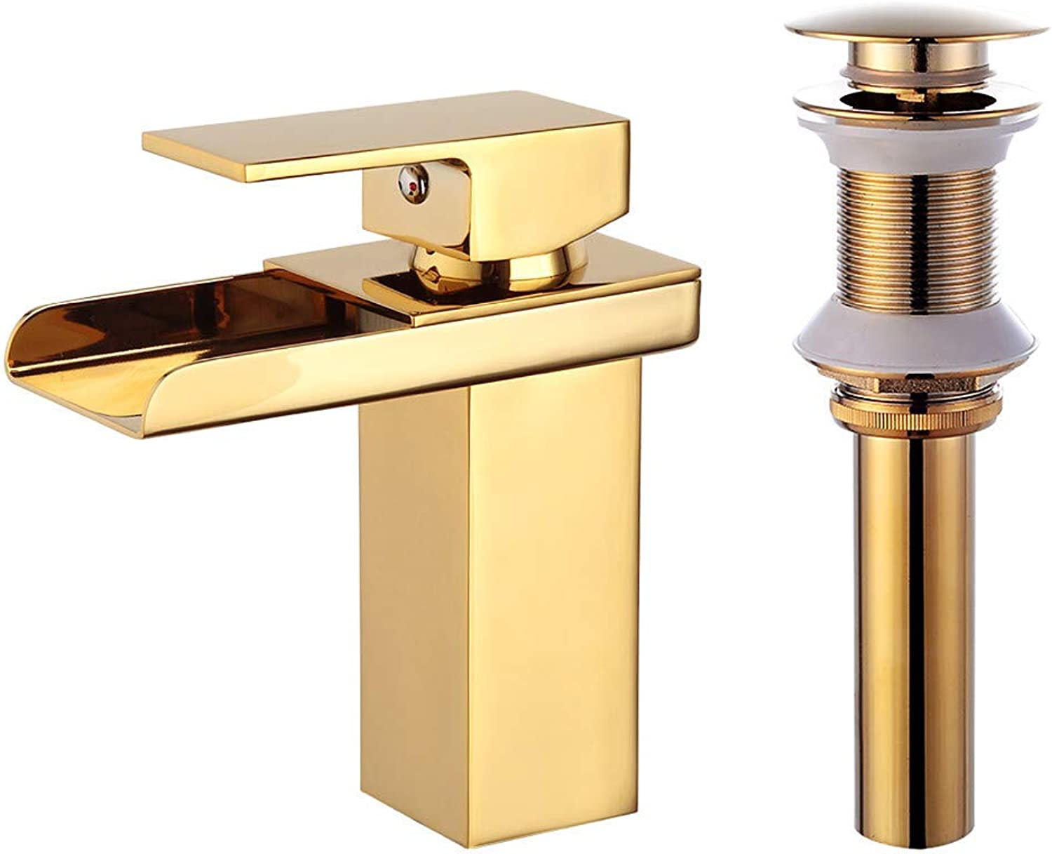 Bathroom Sink Faucet - Waterfall gold Centerset One Hole