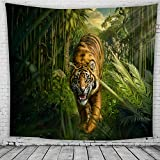 Tapiz de Tigre de Color Tigre Enojado Llama de Fuego Brave Forest King Colgante Decoración de Arte Hogar Decorativo Yoga Colcha Mantel