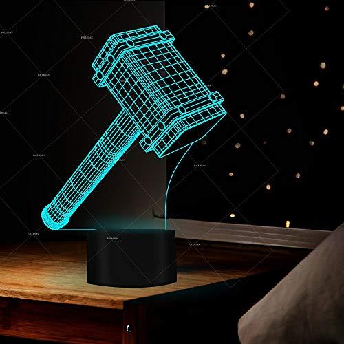 Weihnachten Geburtstagsgeschenk 3D Led Licht Hammer Kopfhörer China Wasserhahn Beleuchtung Geschenke 3D Vision Stereo Bunte Nachtlichter Led-leuchten, g