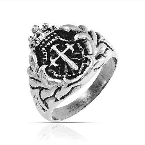 Bling Jewelry Mens Religious Crown Viking Knight Shield Maltase Fleur De Lis Cross Signet Ring for Men Oxidized Silver Tone Stainless