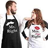 Syntus Mr. and Mrs. Apron, 2 Pack Couple Aprons for Engagement Wedding Anniversary, Bridal Shower...