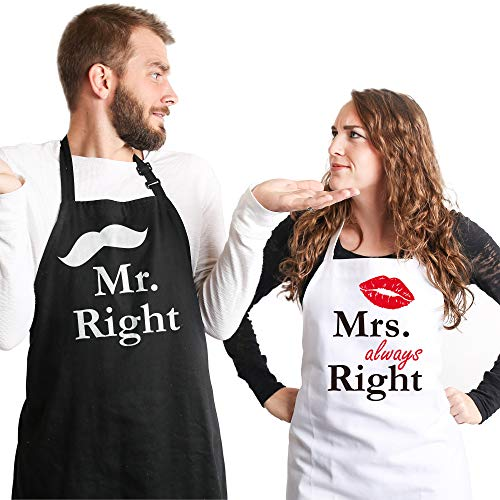 Syntus Mr. and Mrs. Apron, 2 Pack Couple Aprons for Engagement Wedding...