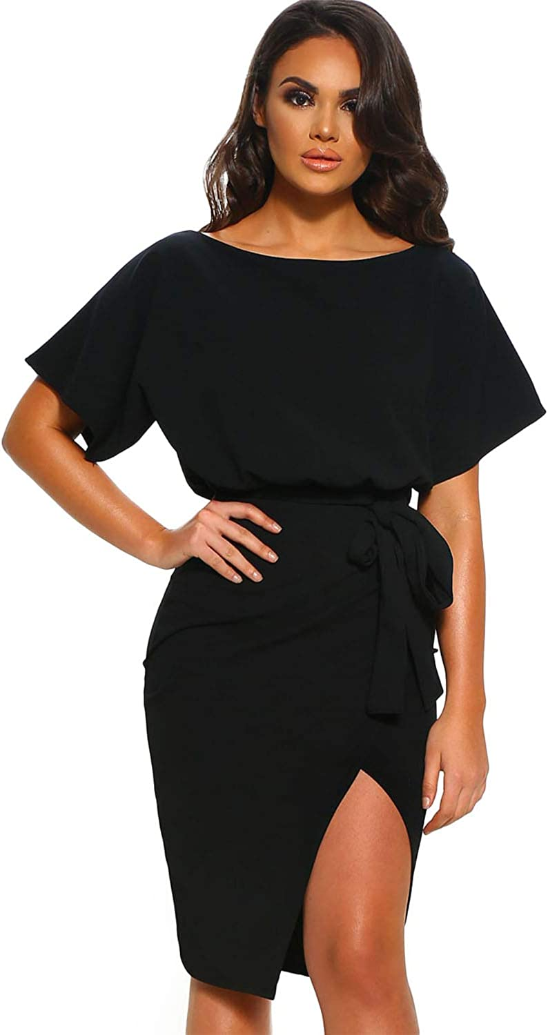 DESIGNER97 Women's Casual Loose Sash Waist Belted Slit Wrap Front Midi Dress with Batwing Short Sleeves