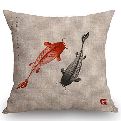 Swono Red and Black Koi Carps Hand Drawn with Ink in Traditional Japanese Burlap Throw Pillow Case Cushion Cover Couch Sofa Decorative Square 18x18 inches