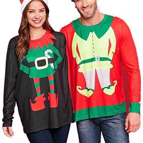 Femme Homme Sweat Couple Adorable De NoëL Sweat-Shirt One Piece Twin Top Santa Christmas Blouse Tops Mode Chic Automne Manches Longues Pas Cher (Rouge, XL)