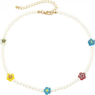 White Pearl Beaded Choker Boho Y2k Necklaces Trendy Smiley Jewelry for Women Teen Girls