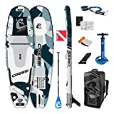 Cressi Tiger Shark Multitask Isup Set Aquamarine Camo 10'2'' Sup Hinchable Fish Shape con Compartimento Integrado para Guardar el Equipo, Unisex-Adult, Aguamarina Camou, One Size