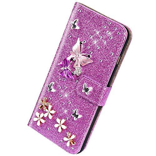 Herbests Compatible avec Samsung Galaxy S5 Coque Portefeuille,Lux Glitter Diamant Papillon Etui de Protection en Cuir à Rabat Magnétique Porte Carte Flip Case Cover,Pourpre
