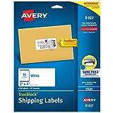 Avery Shipping Address Labels, Inkjet Printers, 1,250 Labels, 2x4 Labels, Permanent Adhesive, TrueBlock (5-pack 8163)