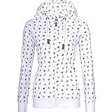 Sudaderas casuales para mujer, otoño, ropa de calle con capucha, con cremallera, chaqueta de invierno Blanco blanco M