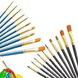 Pinceles de Artista Set,20 Pack Pinceles de Nylon para acuarela, Pinceles de Pintura de Acrílico,para Pintura de Acuarela Manualidades de Arte de Bricolaje Pintura de La Cara(Negro y azul)
