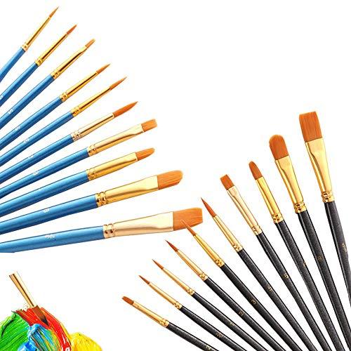 Künstler Pinsel Set, 20 Stück Nylon Acrylfarben Pinsel, für Aquarell Ölgemälde, Perfektes Malerei Ölfarben Brush Set für Anfänger, Kinder, Künstler. (Blau und Schwarz)