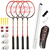 Fostoy Badminton Racket Set, 4 Pack Badminton Racquets with 3...
