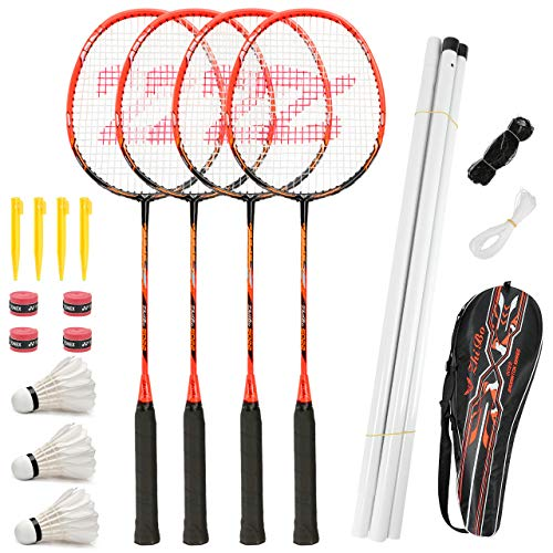 Fostoy Badminton Racket Set, 4 Pack Badminton Racquets with 3 Shuttlecocks & Net, Badminton Shuttlecock Complete Sets for Professional & Beginner Players