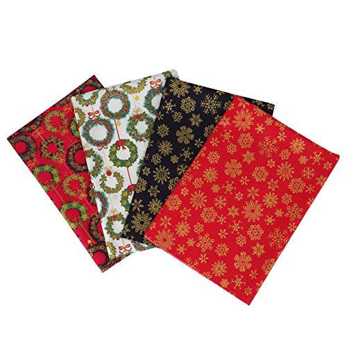 Coopay Paquete de 4 retales de algodón, tela tradicional para costura y manualidades navideñas, retales para proyectos de Navidad, calcetines de Navidad, banderines y cojines de retazos, 50 × 50 cm