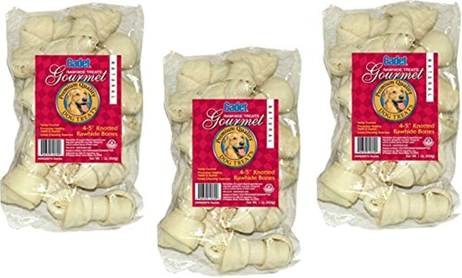 (3 Pack) IMS Trading Natural Rawhide Bone for Dogs, 4Inch 1Pound Bags