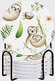 GUVICINIR Juego de 6 Posavasos de cerámica Absorbente con Base de Corcho,Apto para Tipos de Tazas,Bebé Perezoso y Madre Flores de Colores Suaves Cocotero Hojas Familia Feliz (2)
