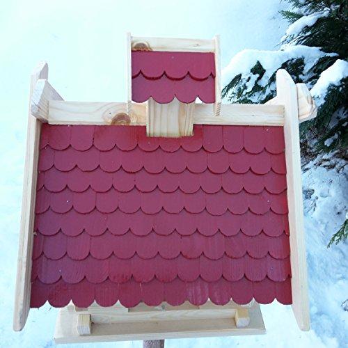Großes XXL Vogelhaus Schreinerarbeit Futterhaus Vogelhäuschen — Wetterschutz lasiert — Blockhaus Holz Vogelhäuser (Rot) - 3