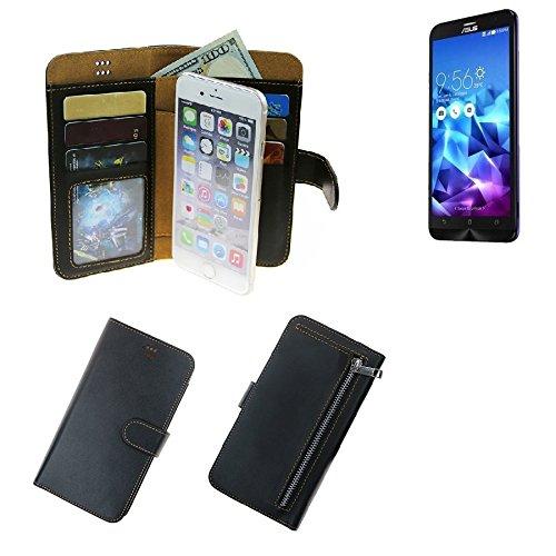 K-S-Trade Schutzhüll Für Asus ZenFone 2 Deluxe Schutz Hülle Portemonnaie Hülle Phone Cover Slim Klapphülle Handytasche E Handyhülle Schwarz Aus Kunstleder (1 STK)
