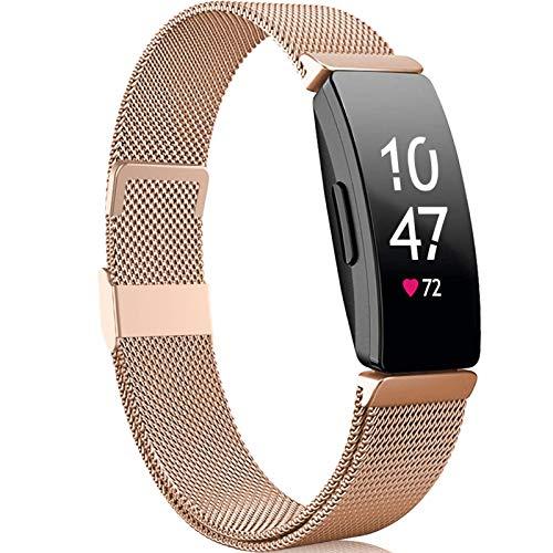 Faliogo Compatible avec Fitbit Inspire Bracelet/Fitbit Inspire 2 Bracelet/Fitbit Inspire HR Bracelet, Bracelet en Métallique Acier Inoxydable Compatible pour Fitbit Ace 2, pour Femme Grand, Royalgold