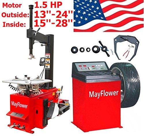 Mayflower - 1.5 HP Tire Changer Wheel Changers Balancer Machine Combo 980 800 Red Edition / 1 Year Full Warranty