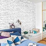 Etiqueta de la pared adhesiva Patrón de ladrillo blanco único Papel pintado de PVC para sala de estar Dormitorio Restaurante (45 * 10 cm)